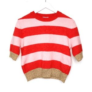 Topshop red, pink & gold striped cropped sweater